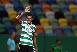 September 20, 2018 - Lisbon, Portugal - Sporting's forward Raphinha from Brazil celebrates after scoring during the UEFA Europa League Group E football match Sporting CP vs Qarabag at Alvalade stadium in Lisbon, on September 20, 2018. (Credit Image: © Pedro Fiuza/NurPhoto/ZUMA Press)