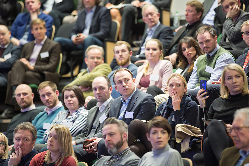 FREE PICTURES :  Entrepreneurial Scotland drafts in brewer. The audience listen to James Watt, Co-Founder of Brewdog and Chris Van der Kuyl, Chairman of Entrepreneurial Scotland at the TIC in Glasgow. Picture Robert Perry 3rd March 2016<br /> <br />  <br /> Picture Robert Perry 3rd March 2016<br /> <br /> Please credit photo to Robert Perry<br /> <br /> Image is free to use in connection with the promotion of the above company or organisation. 'Permissions for ALL other uses need to be sought and payment make be required.<br /> <br /> <br /> Note to Editors:  This image is free to be used editorially in the promotion of the above company or organisation.  Without prejudice ALL other licences without prior consent will be deemed a breach of copyright under the 1988. Copyright Design and Patents Act  and will be subject to payment or legal action, where appropriate.<br /> www.robertperry.co.uk<br /> NB -This image is not to be distributed without the prior consent of the copyright holder.<br /> in using this image you agree to abide by terms and conditions as stated in this caption.<br /> All monies payable to Robert Perry<br /> <br /> (PLEASE DO NOT REMOVE THIS CAPTION)<br /> This image is intended for Editorial use (e.g. news). Any commercial or promotional use requires additional clearance. <br /> Copyright 2016 All rights protected.<br /> first use only<br /> contact details<br /> Robert Perry     <br /> 07702 631 477<br /> robertperryphotos@gmail.com<br />        <br /> Robert Perry reserves the right to pursue unauthorised use of this image . If you violate my intellectual property you may be liable for  damages, loss of income, and profits you derive from the use of this image.