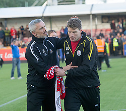 Alloa Athletic's manager Jim Goodwin and Brechin City manager Darren Dods  at the end. Athletic 4 v 3 Brechin City (Brechin won 5-4 on penalties), Ladbrokes Championship Play-Off 2nd Leg at Alloa Athletic's home ground, Recreation Park, Alloa.