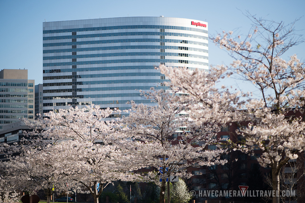 The prominent Raytheon building in Rosslyn, Arlington, Virginia, just across the Potomac River from Washington DC.