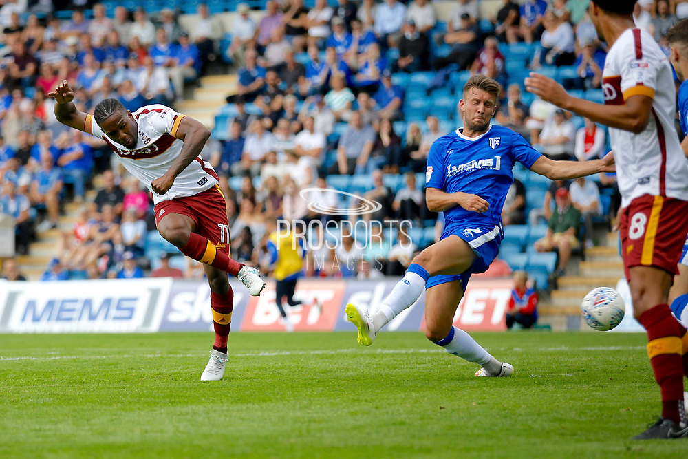 Bradford City Forward Dominic Poleon (11) scores a goal (score 0-1) during the EFL Sky Bet League 1 match between Gillingham and Bradford City at the MEMS Priestfield Stadium, Gillingham, England on 12 August 2017. Photo by Andy Walter.
