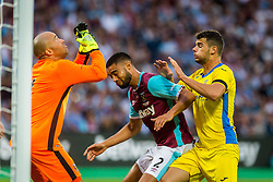 Darren Randolph of West Ham, Winston Reid of West Ham and Antonio Mance of NK Domzale during 2nd Leg football match between West Ham United FC and NK Domzale in 3rd Qualifying Round of UEFA Europa league 2016/17 Qualifications, on August 4, 2016 in London, England.  Photo by Ziga Zupan / Sportida