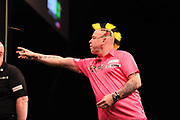 Peter Wright, 2017 UK Open champion & Premier League finalist during the Unibet Premier League Darts Night 13 competition at the Manchester Arena, Manchester, United Kingdom on 26 April 2018. Picture by Mark Pollitt.