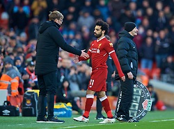 LIVERPOOL, ENGLAND - Saturday, February 24, 2018: Liverpool's Mohamed Salah and manager Jürgen Klopp during the FA Premier League match between Liverpool FC and West Ham United FC at Anfield. (Pic by David Rawcliffe/Propaganda)