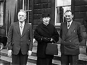 16th Dail Reopens at Leinster House - D J Moloney (left), TD for North Kerry elected to Dail. 20/03/1957