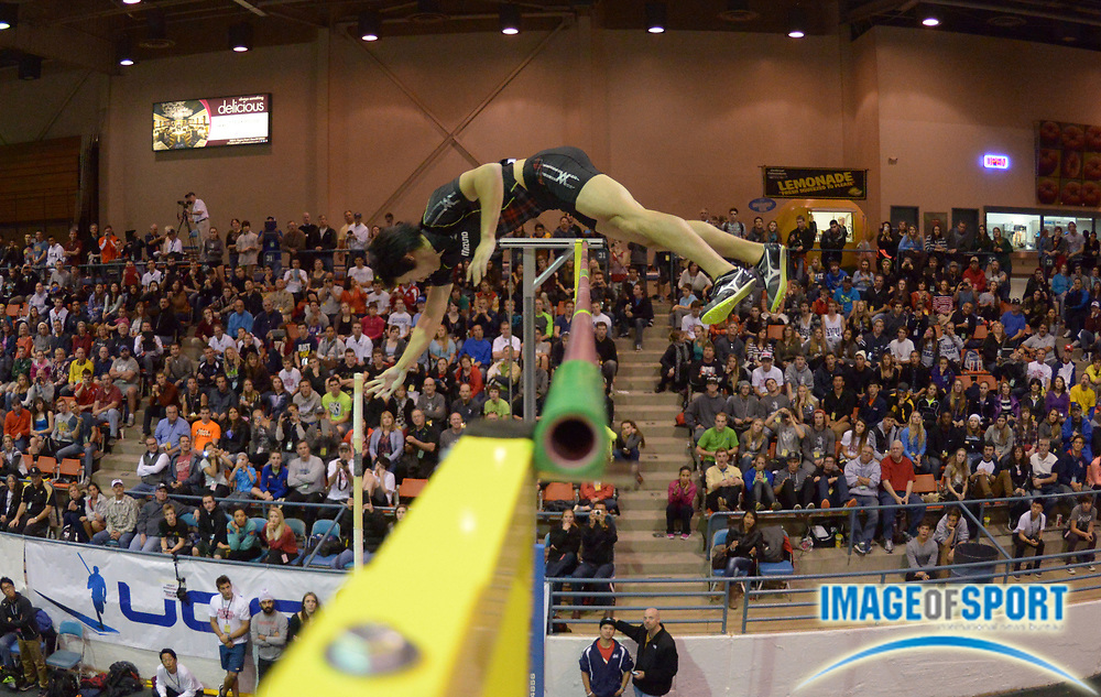 Jan 17, 2014; Reno, NV, USA; Hiroki Ogita (JPN) places fourth in the 25th UCS Spirit National Pole Vault Summit with a clearance of 18-0 1/2 (5.50m) at Reno Events Livestock Center.