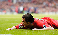 Photo. Jed Wee, Digitalsport<br /> Liverpool v Tottenham Hotspurs, Barclays Premiership, 16/04/2005.<br /> Liverpool's Luis Garcia finds himself sprawled on the penalty area as they push for a goal.