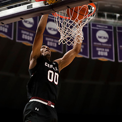 Jan 19, 2019; Baton Rouge, LA, USA; South Carolina Gamecocks guard A.J. Lawson (00) dunks against the LSU Tigers during the second half at the Maravich Assembly Center. Mandatory Credit: Derick E. Hingle-USA TODAY Sports