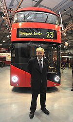 ©London News pictures...11/11/2010. The front of the Bus. Boris Johnson, London's Mayor, unveils a life size mock up of a new bus for London, today (11/11/10). The mock up gives Londoners the first glimpse of how the bus will look when it is put into service in 2012