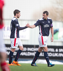 Falkirk's David McCracken celebrates after scoring their first goal with Luke Leahy. <br /> Falkirk 2 v 1 Brechin City, Scottish Cup fifth round game played today at The Falkirk Stadium.