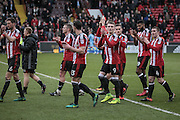 Chris Basham (Sheffield United), Paul Coutts (Sheffield United), Jake Wright (Sheffield United), Caolan Lavery (Sheffield United), John Fleck (Sheffield United), Ethan Ebanks-Landell (Sheffield United) and Billy Sharp (Captain) (Sheffield United) walk around the ground applauding the fans after the EFL Sky Bet League 1 match between Sheffield Utd and Bolton Wanderers at Bramall Lane, Sheffield, England on 25 February 2017. Photo by Mark P Doherty.