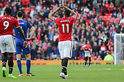Manchester United Forward Anthony Martial celebrates his goal with love gesture during the Premier League match between Manchester United and Everton at Old Trafford, Manchester, England on 17 September 2017. Photo by Phil Duncan.