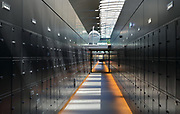 Lockers at Station F, the world's largest startup business centre, housed in the Halle Freyssinet, a former rail freight depot, in the 13th arrondissement of Paris, France. The space houses 3000 desk spaces for 1000 start up companies and corporate partners, along with an auditorium, games areas, lounges, cafes and restaurants. The building was originally built by Eugene Freyssinet and opened in 1929, but was remodelled by Wilmotte and Associates and reopened in 2017. Picture by Manuel Cohen