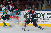 KELOWNA, CANADA - NOVEMBER 12: Conner Bruggen-Cate #20 of the Kelowna Rockets stops to take a first period shot against the Prince Albert Raiders on November 12, 2016 at Prospera Place in Kelowna, British Columbia, Canada.  (Photo by Marissa Baecker/Shoot the Breeze)  *** Local Caption *** Conner Bruggen-Cate'