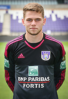 Anderlecht's goalkeeper Liam Bossin pictured during the 2015-2016 season photo shoot of Belgian first league soccer team RSC Anderlecht, Tuesday 14 July 2015 in Brussels.
