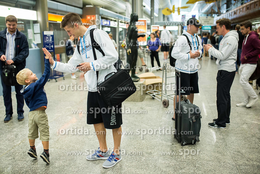 Aleksej Nikolic of Slovenia at departure of Slovenian Basketball Team to Las Palmas on Gran Canaria for World Championship Spain 2014  on August 24, 2014 in Letalisce Jozeta Pucnika, Brnik, Slovenia. Photo by Vid Ponikvar / Sportida