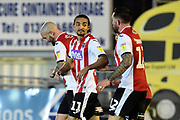 Goal - Randell Williams (11) of Exeter City celebrates after he scores a goal to give a 2-0 lead during the EFL Sky Bet League 2 match between Exeter City and Cambridge United at St James' Park, Exeter, England on 11 January 2020.
