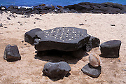 Konane stone (ancient Hawaiian game) at Pu'uhonua O Honaunau National Historic Park (City of Refuge), Kona Coast, The Big Island, Hawaii