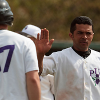 25 April 2010: Chabelo Reyes Calderon congratulates Bertrand Dubaut during game 1/week 3 of the French Elite season won 12-4 by Rouen over the PUC, at the Pershing Stadium in Vincennes, near Paris, France.