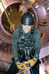 Royal Marines abseil down BT Tower. the BT Tower, London, United Kingdom. Embargoed until Monday, 17th February 2014. Picture by Anthony Upton / i-Images<br /> <br /> HISTORIC MOMENT FOR BT TOWER AS CHARITY ABSEIL GETS THE GREEN LIGHT<br /> TV presenter Helen Skelton during the training at the Castle Climbing centre, in north London ahead of the first ever charity abseil down BT Tower will take place on 10 March to raise money for Sport Relief and the Royal Marines Charitable Trust Fund using BT's MyDonate online fundraising site.<br /> <br /> The event will also kick off a year of celebrations for the 350th anniversary of the Royal Marines, during which the Royal Marines Charity Trust Fund (RMCTF) aim to raise £6million