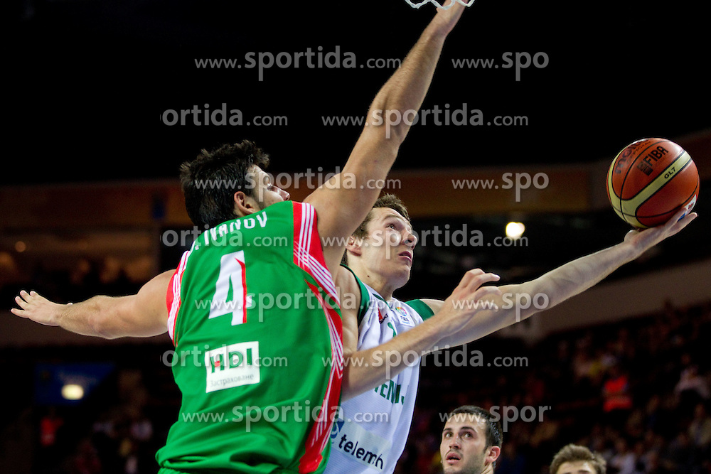 Dejan Ivanov of Bulgaria vs Goran Dragic of Slovenia during basketball match between National teams of Slovenia and Bulgaria in Group D of Preliminary Round of Eurobasket Lithuania 2011, on August 31, 2011, in Arena Svyturio, Klaipeda, Lithuania.   Slovenia defeated Bulgaria 67 - 59. (Photo by Vid Ponikvar / Sportida)