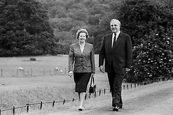 File photo dated 09/07/1988 of Prime Minister Margaret Thatcher and Chancellor Helmut Kohl of West Germany walking in the grounds at Chequers, the Prime Minister's country residence, where they had three hours of 'relaxed and very friendly' talks. Mr Kohl, the chancellor credited with German reunification, has died at 87, according to his political party.