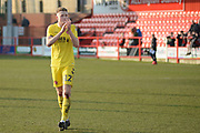 Fleetwood Town defender Cian Bolger (12)  applauds the fans after his team's win in the EFL Sky Bet League 1 match between Accrington Stanley and Fleetwood Town at the Fraser Eagle Stadium, Accrington, England on 30 March 2019.