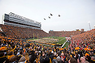 November 20 2010: Four T-38 fighter jets from the 25th Fighter Training Squadron, which is part of the 71st Flying Training Wing based at Vance Air Force Base, Oklahoma perform a flyover before the start of the NCAA football game between the Ohio State Buckeyes and the Iowa Hawkeyes at Kinnick Stadium in Iowa City, Iowa on Saturday November 20, 2010. Ohio State defeated Iowa 20-17.