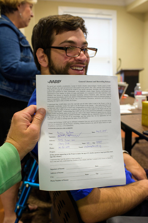 Annapolis, Maryland - May 21, 2015: John Hankel, from Baltimore, is a wounded veteran from the Vietnam War era who uses Maryland's Medicaid services. He works with AARP to train fellow legislative advocates during a meeting in Annapolis Thursday May 21, 2015.<br /> <br /> <br /> CREDIT: Matt Roth