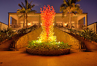 "Dale Chihuly 2007 Exhibition in Fairchild Tropical Gardens In Miami, Chihuly call this ""Tower of  Glasst"", Dale Chihuly is recognized artist for his work with glass."