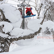 Kolby Ward gaps over a pillowy tree under the gondola in Rusutsu, Japan.