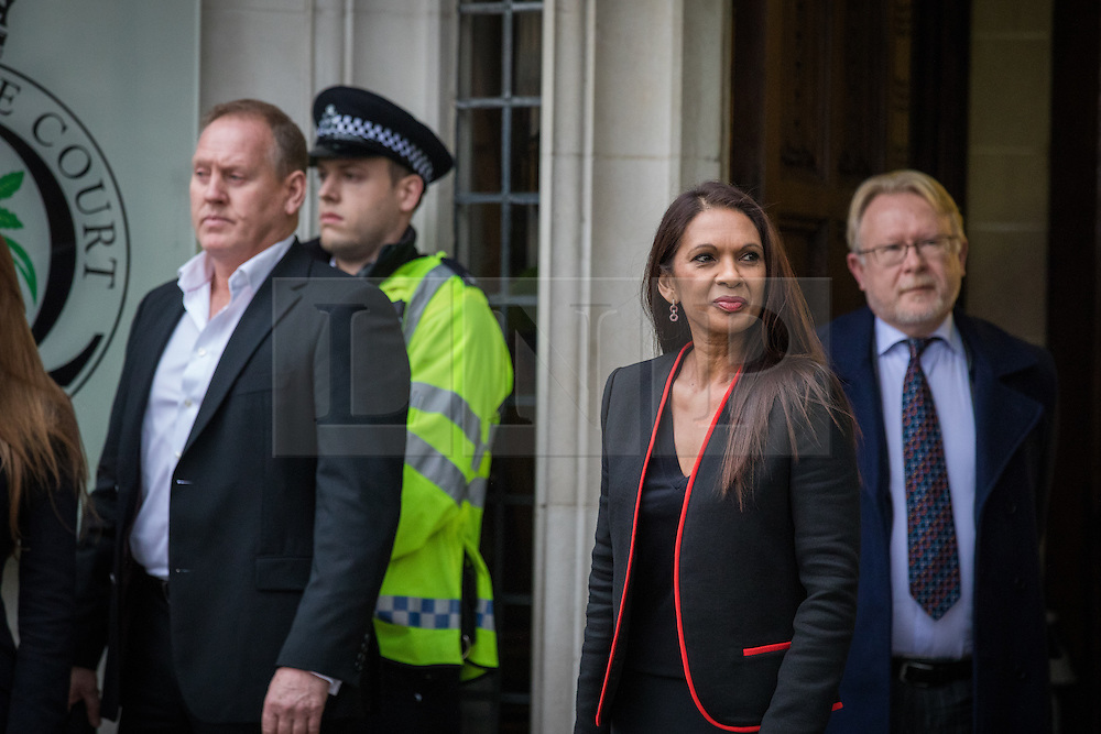 © Licensed to London News Pictures. 08/12/2016. London, UK. Gina Miller (centre) arrives at the Supreme Court in Westminster, London, for the fourth and final day of the government's appeal against an earlier High Court ruling, on the process for invoking Article 50 to leave the European Union. The High Court decision of 3 November 2016, in favour of lead claimant Gina Miller, ruled that parliament must be given a vote before Brexit negotiations can begin. Photo credit: Rob Pinney/LNP