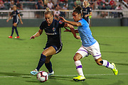 Manchester City defender Demi Stokes (3) dribbles the ball against North Carolina Courage defender Merritt Mathias (11) during an International Champions Cup women's soccer game, Thurday, Aug. 15, 2019, in Cary, NC. The North Carolina Courage defeated Manchester City Women 2-1.  (Brian Villanueva/Image of Sport)