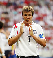 Photo: Chris Ratcliffe.<br /> <br /> England v Ecuador. 2nd Round, FIFA World Cup 2006. 25/06/2006.<br /> <br /> David Beckham of England feels the heat.