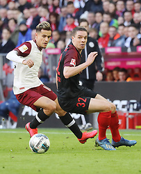 08.03.2020, Allianz Arena, Muenchen, GER, 1. FBL, FC Bayern Muenchen vs FC Augsburg, 25. Runde, im Bild Philippe Coutinho und Raphael Framberger // during the German Bundesliga 25th round match between FC Bayern Muenchen and FC Augsburg at the Allianz Arena in Muenchen, Germany on 2020/03/08. EXPA Pictures © 2020, PhotoCredit: EXPA/ SM<br /> <br /> *****ATTENTION - OUT of GER*****