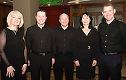 Nicola McNabb, Noel McIntyre, Ray Keleghan, Orla Malone and Brian Whyte from Moycullen Enchants who performed at Choir Factor in the Radisson Blu.<br /> Choir Factor is a fundraiser for The Sccul Sanctuary, Therapeutic Support Centre in Kilcornan Clarenbrdge.<br /> <br />  Photo:Andrew Downes, xposure.