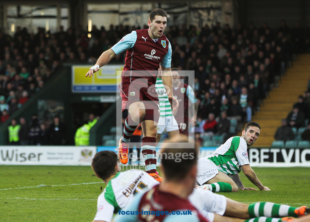 Picture by Tom Smith/Focus Images Ltd 07545141164<br /> 11/01/2014<br /> Sam Vokes (centre top) of Burnley looks on as he misses a chance to score during the Sky Bet Championship match at Huish Park, Yeovil.