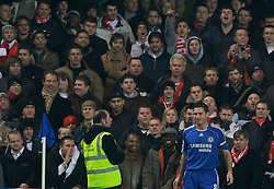 LONDON, ENGLAND - Wednesday, December 19, 2007: Liverpool's supporters jibe Chelsea's Frank Lampard about his weight problem during the League Cup Quarter Final match at Stamford Bridge. (Photo by David Rawcliffe/Propaganda)