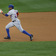 Eric Young Jr. New York Mets, running to second during the New York Yankees V New York Mets, Subway Series game at Yankee Stadium, The Bronx, New York. 12th May 2014. Photo Tim Clayton