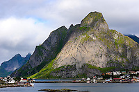 Norway, Lofoten. Reine in Lofoten is a commercial and rourism center, and has been selected as one of the most beautiful villages in Norway.
