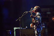 Esperanza Spalding singing and playing a fretless bass on stage at Celebrate Brooklyn.