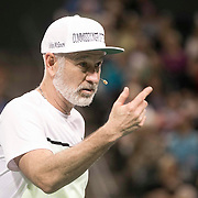 March 7, 2015, Indian Wells, California:<br /> John McEnroe reacts during the McEnroe Challenge for Charity presented by Masimo in Stadium 2 at the Indian Wells Tennis Garden in Indian Wells, California Saturday, March 7, 2015.<br /> (Photo by Billie Weiss/BNP Paribas Open)