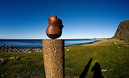 'Head', a sculpture by Swiss artist Markus Raetz (1992) on the coast near Eggum, Vestvagoya, Lofoten Islands, Arctic Norway