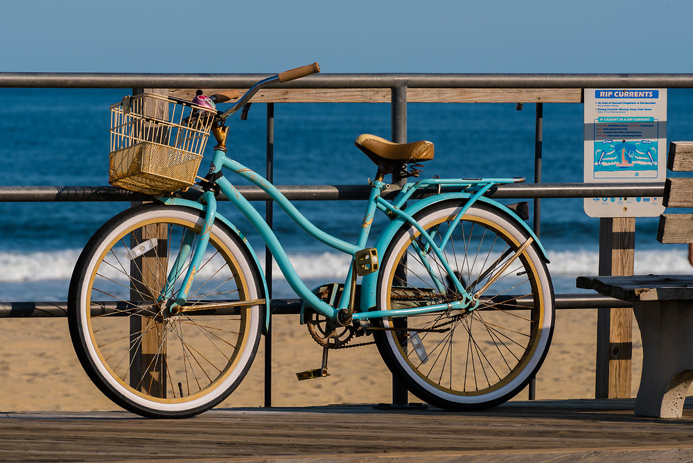 Bicycle is parked and locked up on the Boardwalk
