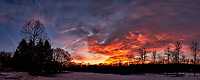 Dawn Morning Clouds. Winter Backyard Nature in New Jersey. Composite of 7 images taken with a Fuji X-T1 camera and 16 mm f/1.4 lens (ISO 200, 16 mm, f/5.6, 1/60 sec). Raw images processed with Capture One Pro and the composite generated with AutoPano Giga Pro.