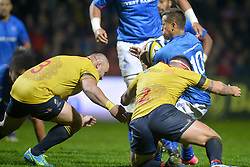 November 18, 2017 - Bucharest, Romania - Samoa's Tim Nanai Williams vies Romania's Andrei Radoi and Andrei Ursache in action during International Friendly  Rugby match at National Stadium ''Arcul de Triumf'', on November 18th 2017, in Bucharest, Romania. (Credit Image: © Alex Nicodim/NurPhoto via ZUMA Press)