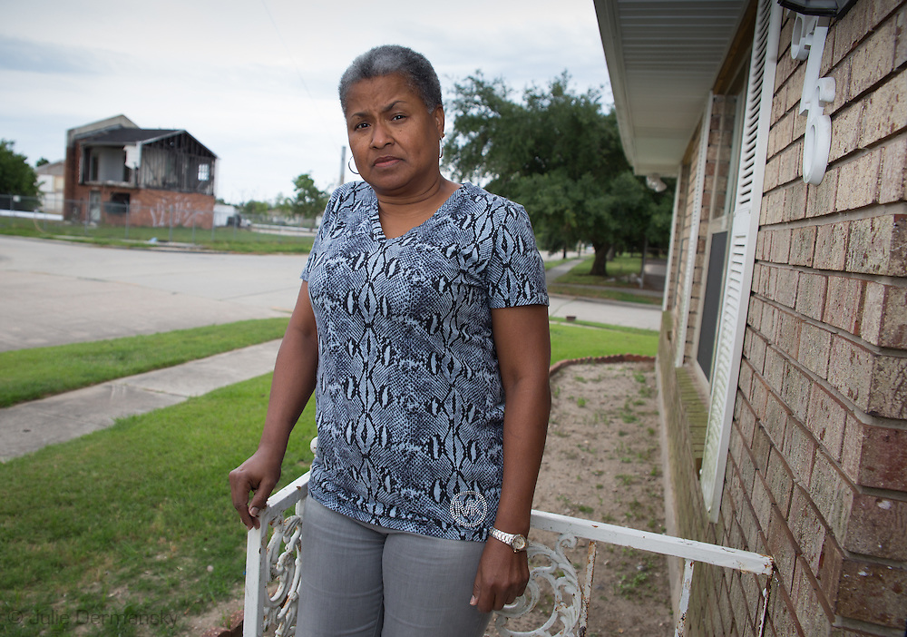 Shannon Rainey  a Gordon Plaza Residents stuck in limbo, living homes built ontop of the Agricultural landfill in New Orleans. Acoss from the is Press Park,  public housing , left in ruin since hurricane Katrina. 70% of Press Park was torn donw nine years after Hurricane Katrina.