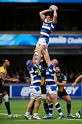 Bath Flanker Francois Louw wins a lineout - mandatory by-line: Rogan Thomson/JMP - Tel: 07966 386802 - 23/05/2014 - SPORT - RUGBY UNION - Cardiff Arms Park, Wales - Bath Rugby v Northampton Saints - Amlin Challenge Cup Final.