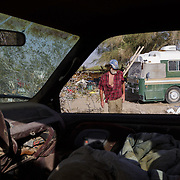 Paul Lineberger, 61, has been in Slab City for 17 months. He had a military upbringing,  and at 19 was training to become an evangelist in No. Carolina. He left that behind and worked for 14 years for the painter Shirl Goedike, also living in Nice as a photographer of artists, even traveling on the Concord. His car recently broke down in the area and he left all of his wordly possessions in it and started a new chapter.
