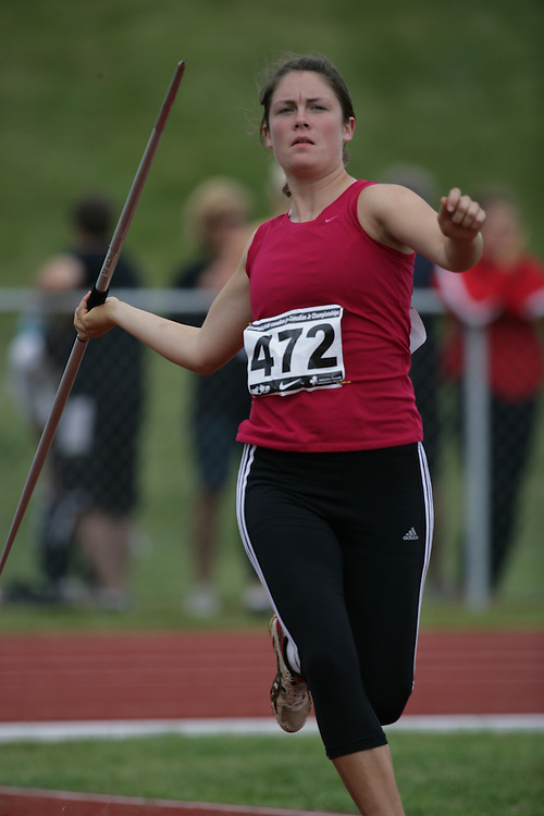 (Charlottetown, Prince Edward Island -- 20090718) Leanne Schellenberg of Riversdale Athletics competes in the heptathlon javelin at the 2009 Canadian Junior Track & Field Championships at UPEI Alumni Canada Games Place on the campus of the University of Prince Edward Island, July 17-19, 2009.  Copyright Sean Burges / Mundo Sport Images , 2009...Mundo Sport Images has been contracted by Athletics Canada to provide images to the media.